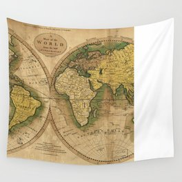 Vintage Map of The World (1795) 2 Wall Tapestry