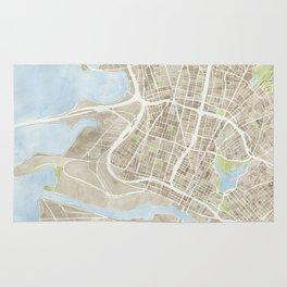 Oakland California Watercolor Map Rug