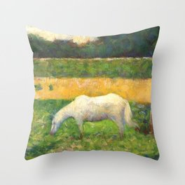 """Georges Seurat """"Paysage avec cheval (Landscape with a white horse)"""" Throw Pillow"""