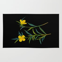 Mary Delany Botanical Vintage Flower Floral Collage Oenothera Fruticosa Rug