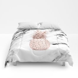 Rose Gold Pineapple on Black and White Marble Comforters