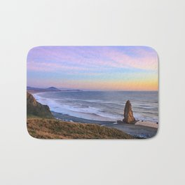 Cape Blanco, Oregon Panoramic view to Port Orford at Sunset Bath Mat