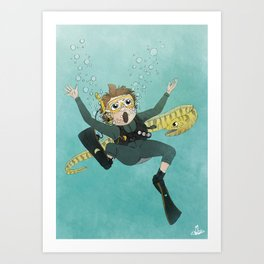 Underwater Scuba Diving Adventure Art Print