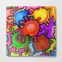 Vibrant Paint Splats Metal Print