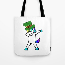 Dabbing St Patrick_s Day Unicorn Leprechaun Tote Bag