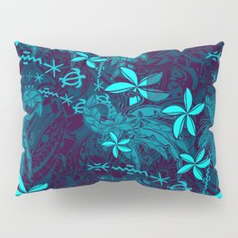 Polynesian Teal Tribal Leaf And Floral Printed Pillow Sham
