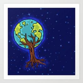 SPACE EARTH TREE Art Print