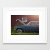 mercedes Framed Art Prints featuring Old blue Mercedes by Katie Jean Images
