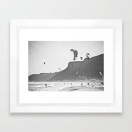Windsurfers having fun on the Atlantic Ocean - Landscape Photography #Society6 Framed Art Print