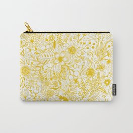 Yellow Floral Doodles Carry-All Pouch