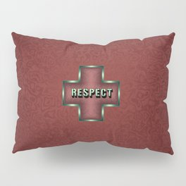 """""""Respect"""" Typography in Maroon Celtic Cross Pillow Sham"""
