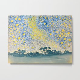 Henri-Edmond Cross Neo-Impressionism Pointillism Landscape with Stars Watercolor Painting Metal Print