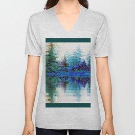 BLUE MOUNTAIN TREES & LAKE REFLECTION Unisex V-Neck