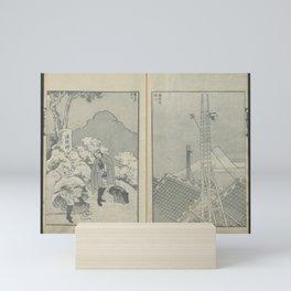 Katsushika Hokusai - 100 Views of Mount Fuji: Travellers and Towers in Shizuoka (1847) Mini Art Print