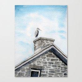 Heron on Watson's Mill Canvas Print