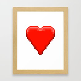 Retro Video Game Heart Pixel Art Framed Art Print