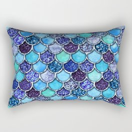 Colorful Teal & Blue Watercolor & Glitter Mermaid Scales Rectangular Pillow