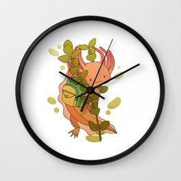 Axolotl Wearing a Backpack Wall Clock