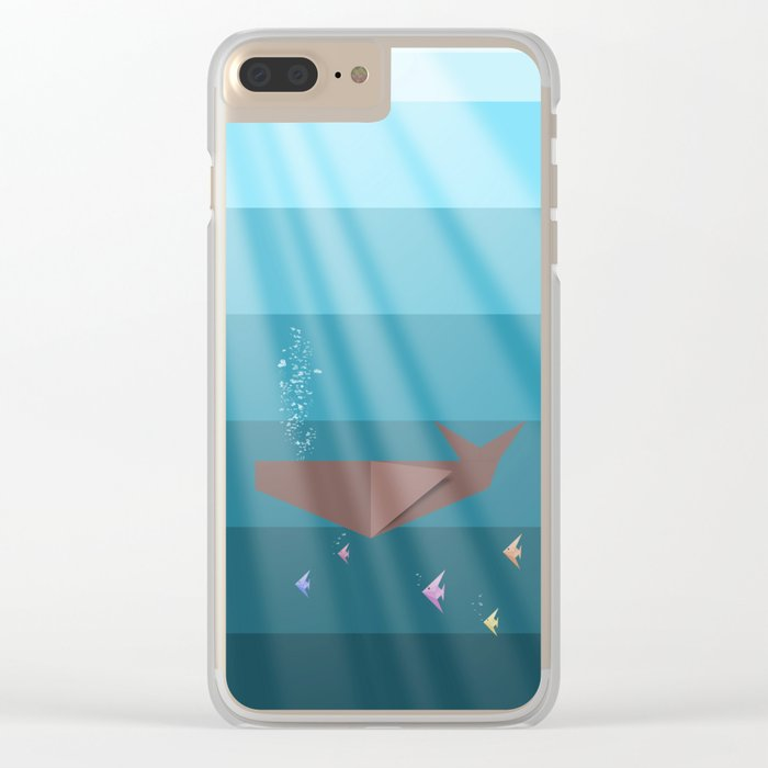 LIVING SEA (origami animals whales) Clear iPhone Case