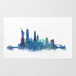 NY New York City Skyline NYC Watercolor art Rug