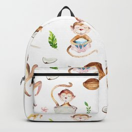 Tropical pink brown green watercolor monkey coconut floral Backpack
