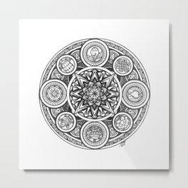 Ink Mandala, Ink Drawing, Ashtamangala, Black and White Design #Society6 Metal Print