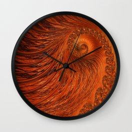 Orange Lily Fractal Wall Clock