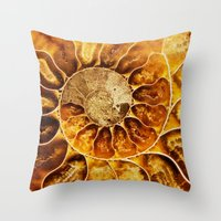 minerals Throw Pillows featuring AMAZING AMMONITE by Catspaws