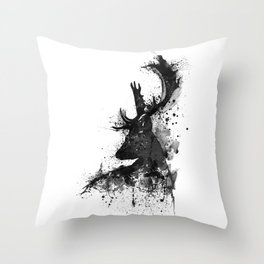 Deer Head Watercolor Silhouette - Black and White Throw Pillow