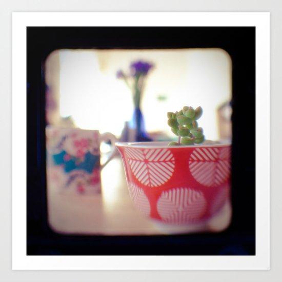 Succulent Tea Cup Art Print