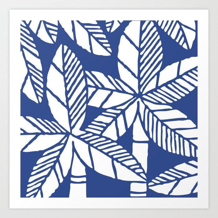 Tropical Palm Tree Composition Indigo Blue Art Print