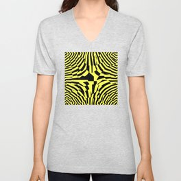 Abstract geometric aboriginal black yellow zebra design pattern of converging lines and shapes Unisex V-Neck