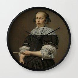 Caesar Boëtius van Everdingen - Portrait of Elisabeth van Kessel, Wife of Willem Jacobsz Baert Wall Clock
