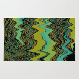 Squiggles in Black, Aqua, Gold, and Green Rug