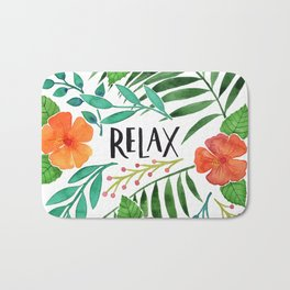 Relax - Tropical Watercolor floral Bath Mat
