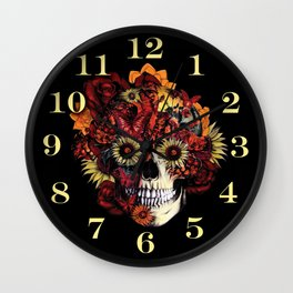 Full circle...Floral ohm skull Wall Clock
