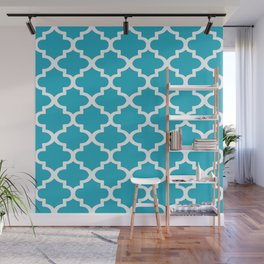 Arabesque Architecture Pattern In Cerulean Blue Wall Mural