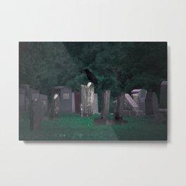 Crow in a Graveyard. Metal Print