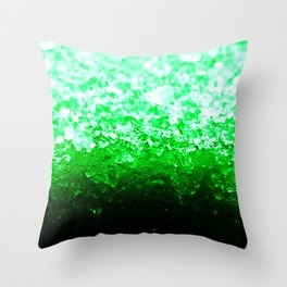Emerald Green Ombre Crystals Throw Pillow