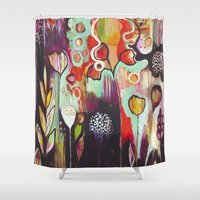 "flora bowley Shower Curtains featuring ""Release Become"" Original Painting by Flora Bowley by Flora Bowley"