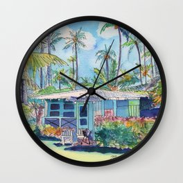 Kauai Blue Cottage 2 Wall Clock