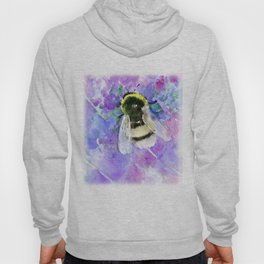 Bumblebee and Lavender Flowers Herbal Bee Honey Purple Floral design Hoody