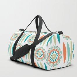 Mid Century Modern Mandala and Leaf Nature Print Duffle Bag