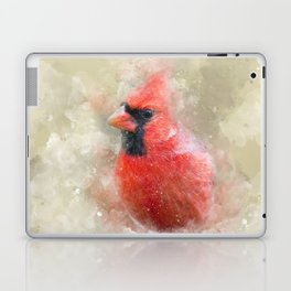 Northern Cardinal Watercolor Splatter Laptop & iPad Skin