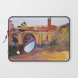 Toledo, Impressionist landscape, Spanish town, bridge Laptop Sleeve