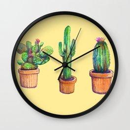 Cactus on Yellow Wall Clock