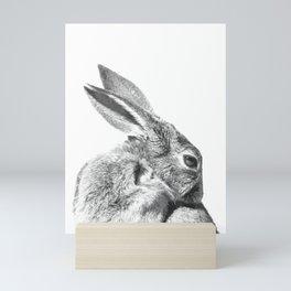 Black and white rabbit Mini Art Print