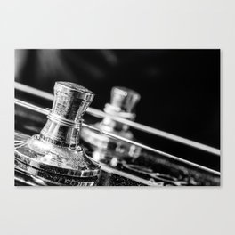 In Tune close up electric guitar tuning post and string Canvas Print