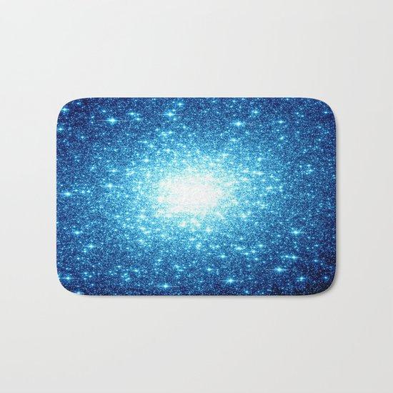 Turquoise Blue Galaxy Stars Bath Mat