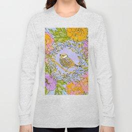 Spring Chickadee in Flowery Woodland Wreath Long Sleeve T-shirt
